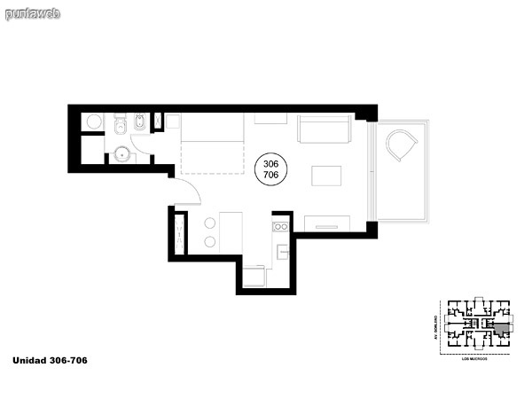 Unidad 306 y 706, monoambiente con acceso a terraza.