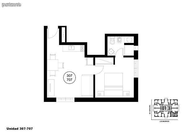 Unidad 307 y 707 unidad de un dormitorio sin acceso a terraza.