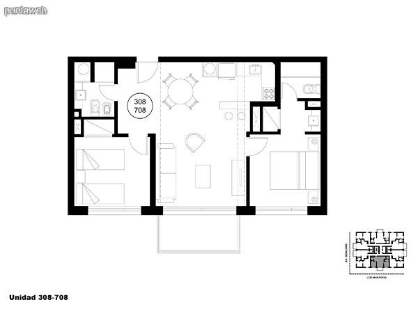 Unidad 308 y 708, unidad de dos dormitorios, principal en suite y segundo dormitorio con baño completo que puede ser usado como baño social.<br>Acceso a terraza.
