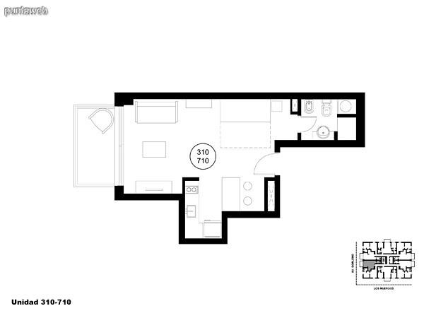 Unidad 310 y 710, monoambiente con acceso a terraza.