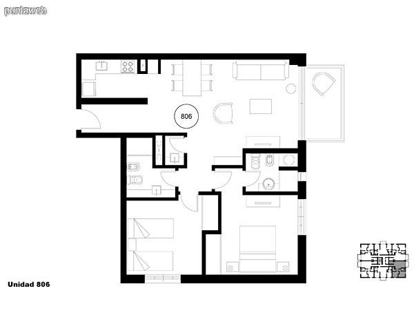 Unidad 806, unidad de dos dormitorios, principal en suite, segundo dormitorio en semisuite mas toilette.<br>Living comedor con acceso a terraza