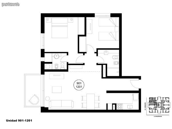Unidad 901 y 1201, unidad de dos dormitorios, principal en suite y segundo dormitorio con baño completo que puede ser usado como baño social.<br>Acceso a terraza.