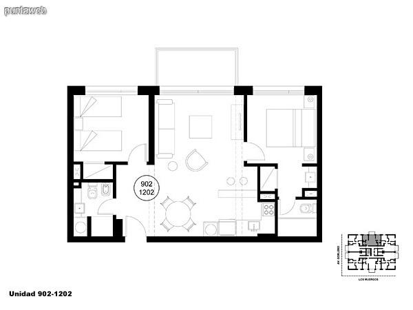 Unidad 902 y 1202, unidad de dos dormitorios, principal en suite y segundo dormitorio con baño completo que puede ser usado como baño social.<br>Acceso a terraza.