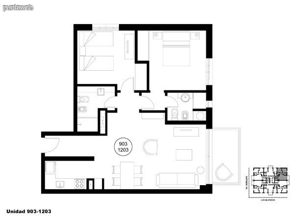 Unidad 903 y 1203, unidad de dos dormitorios, principal en suite y segundo dormitorio con baño completo que puede ser usado como baño social.<br>Acceso a terraza.