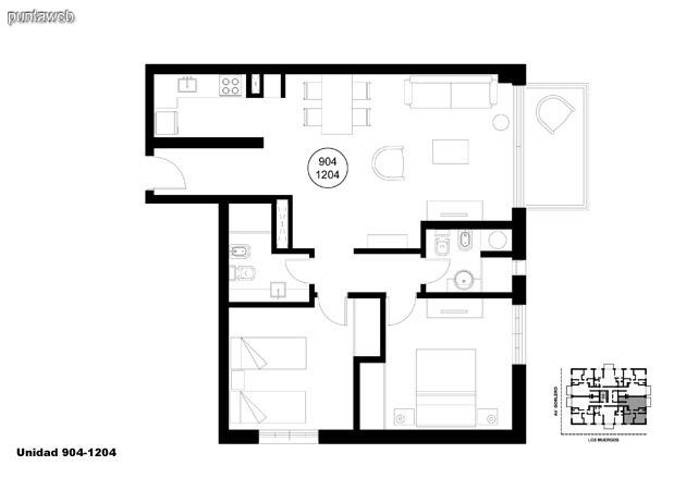 Unidad 904 y 1204, unidad de dos dormitorios, principal en suite y segundo dormitorio con baño completo que puede ser usado como baño social.<br>Acceso a terraza.