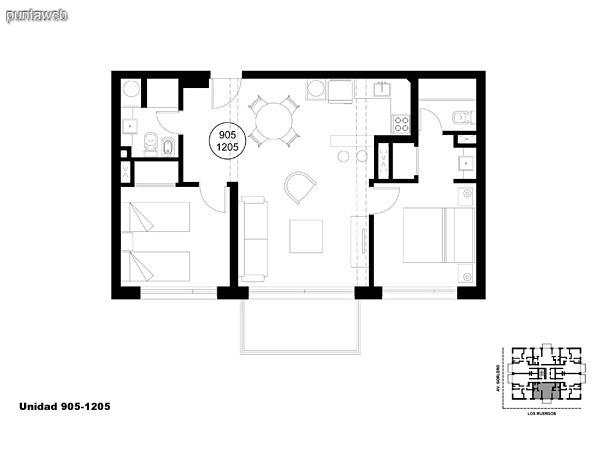 Unidad 905 y 1205, unidad de dos dormitorios, principal en suite y segundo dormitorio con baño completo que puede ser usado como baño social.<br>Acceso a terraza.