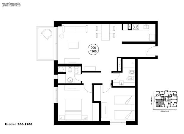 Unidad 906 y 1206, unidad de dos dormitorios, principal en suite y segundo dormitorio con baño completo que puede ser usado como baño social.<br>Acceso a terraza.