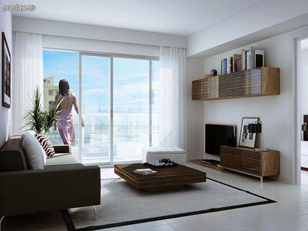 Living con acceso a terraza.