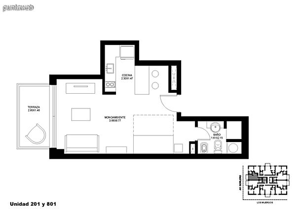 Unidad 201 y 801, monoambiente con acceso a terraza.