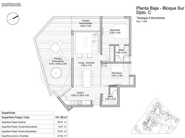 Planta Baja, tipología de dos dormitorios.