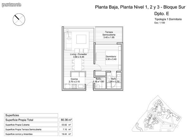 Planta Baja y niveles 1 – 2 y 3, tipología de un dormitorio.