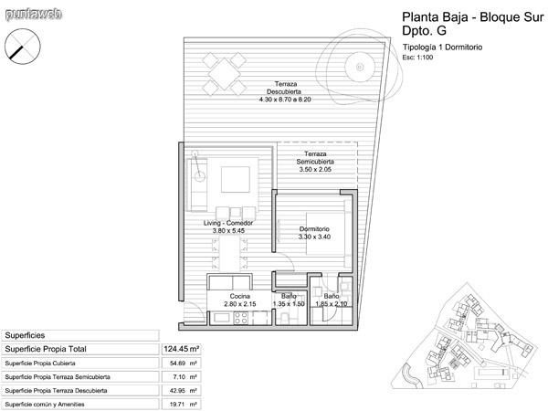 Planta Baja, tipología de un dormitorio.