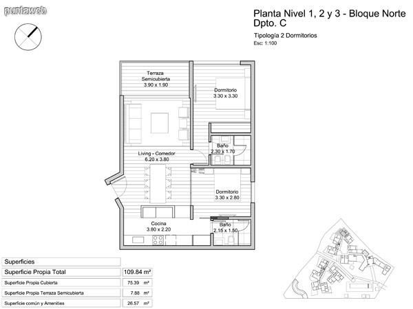 Planta nivel 1 – 2 y 3, tipología de dos dormitorios.