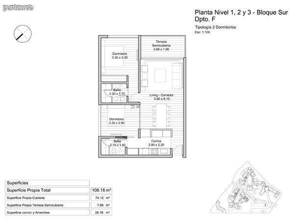 Planta Baja y niveles 1 – 2 – 3 y 4, tipología de un dormitorio.