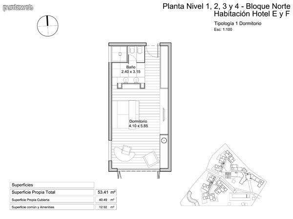 Planta nivel 1 – 2 – 3 y 4 habitación de hotel.