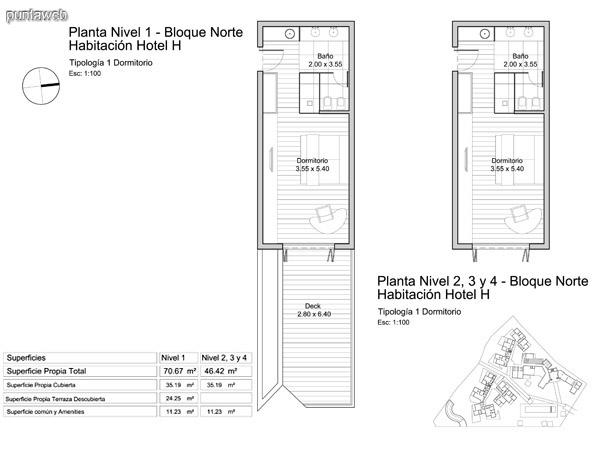 Planta nivel 2 – 3 y 4, habitación de hotel.