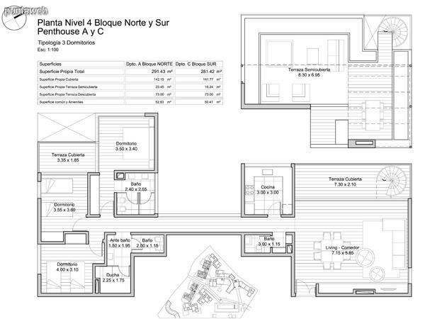 Planta nivel 4, Bloque Norte y Sur,<br>Penthouse A y C.
