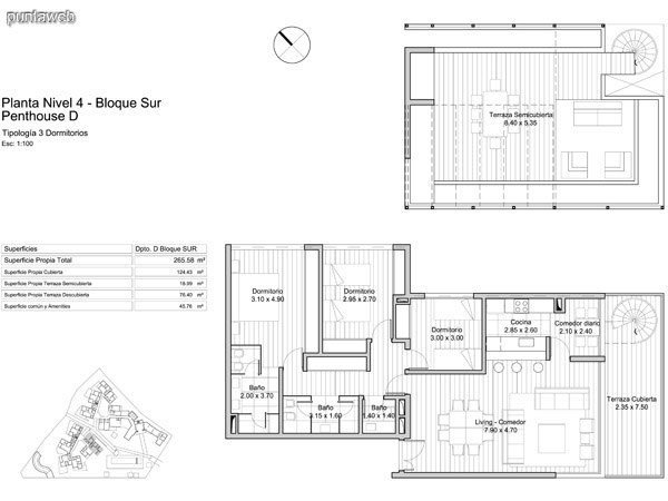 Planta Nivel 4 Bloque Sur, Penthouse D.