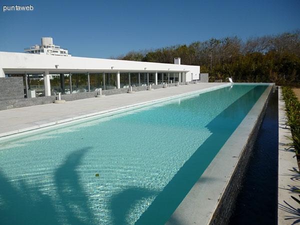 Amplia piscina estilo Lap Pool.