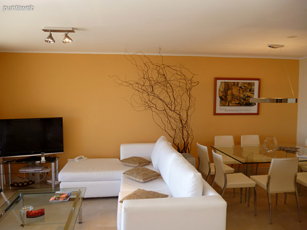 Living y Tv plana, acceso a terraza desde el ambiente.