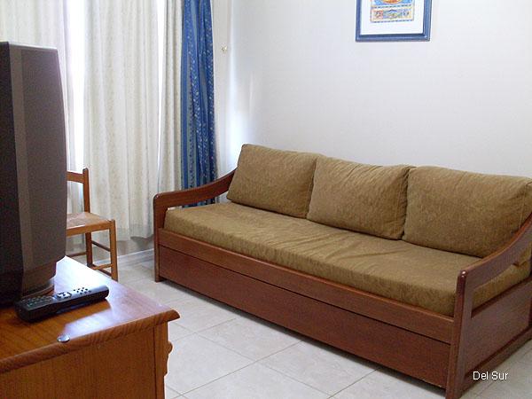 Sofá con cama marinera en el living, para dos personas.