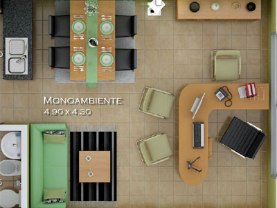 Kitchenette y ba�o de los apartamentos tipo 4