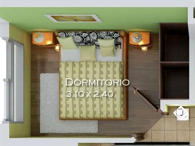 Dormitorio de los apartamentos tipo 1