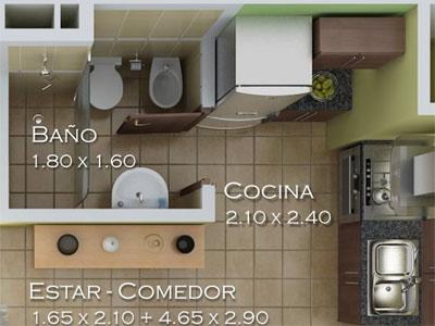 Estar comedor de los apartamentos tipo 2