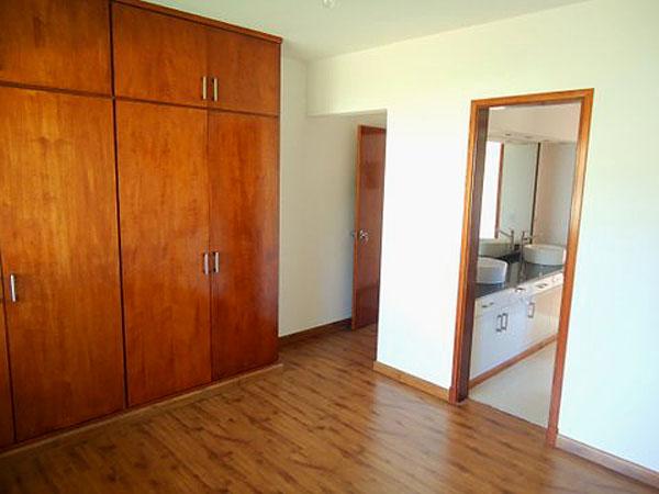 Estufa a leña en el living comedor. A la derecha, puerta de acceso a la casa.