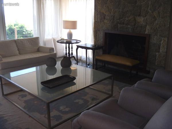 Detalle de la estufa y de la mesa ratona. Hay un sofá de tres cuerpos, uno de dos cuerpos y dos sofás de un cuerpo de color gris piedra.