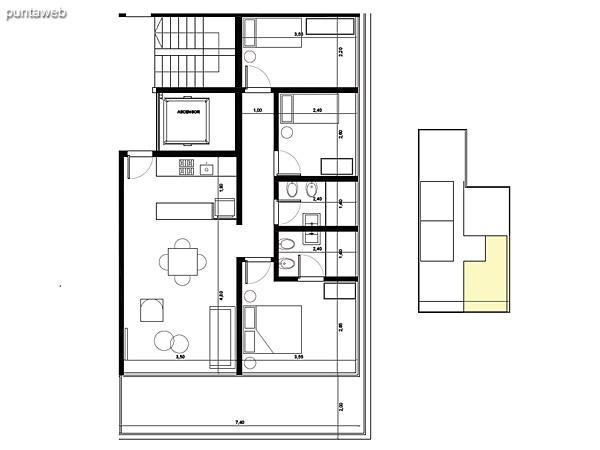 Tipolog�a 02. 3 dormitorios, 2 ba�os.<br>�rea interior: 67 m�<br>�rea exterior 19 m�<br>�rea compun 13 m�<br>Estacionamiento 12 m�