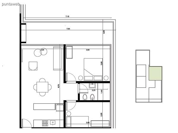 Tipolog�a 03. 2 dormitorios, 1 ba�o, parrillero.<br>�rea interior: 50 m�<br>�rea exterior 17 m�<br>�rea compun 9 m�<br>Estacionamiento 10 m�