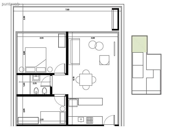 Tipolog�a 04. 2 dormitorios, 1 ba�o, parrillero.<br>�rea interior: 51 m�<br>�rea exterior 21 m�<br>�rea compun 10 m�<br>Estacionamiento 12 m�