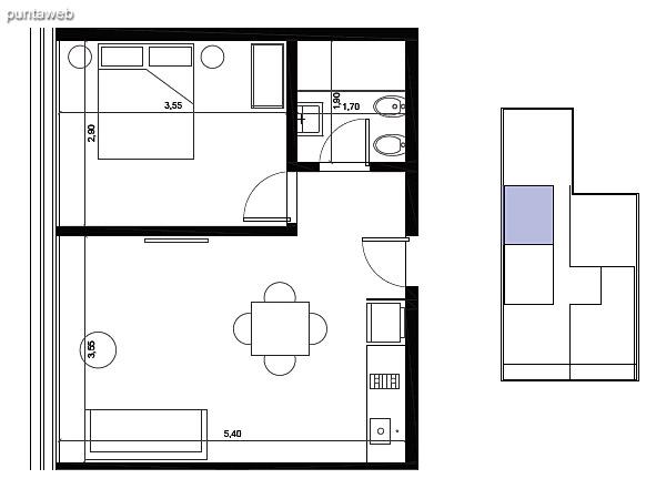 Tipolog�a 05. 1 dormitorio, 1 ba�o.<br>�rea interior: 38 m�<br>�rea exterior 2 m�<br>�rea compun 7 m�<br>Estacionamiento 10 m�