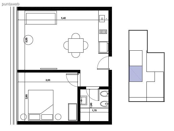 Tipolog�a 06. 1 dormitorio, 1 ba�o.<br>�rea interior: 38 m�<br>�rea exterior 2 m�<br>�rea compun 7 m�<br>Estacionamiento 10 m�