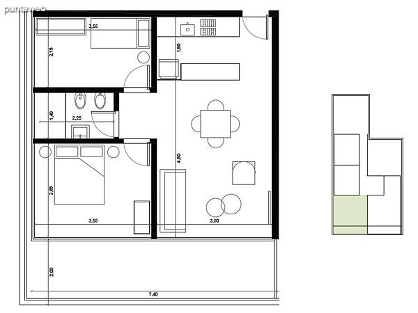 Tipolog�a 01. 2 dormitorios, 1 ba�o.<br>�rea interior: 51 m�<br>�rea exterior 17 m�<br>�rea compun 10 m�<br>Estacionamiento 12 m�