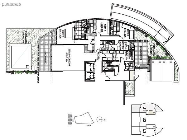 Planta Baja Unidad 1<br><br>Sup. Cubierta: 183.71 m²<br>Sup. Semicubierta: 40.03 m²<br>Sup. Exterior: 112.57 m²<br>Sup. Común: 8.58 m²<br>Sup. Amenities: 12.85 m²<br>Sup. Cochera + Baulera: 15.00 m²<br>Sup. Total: 372.74 m²
