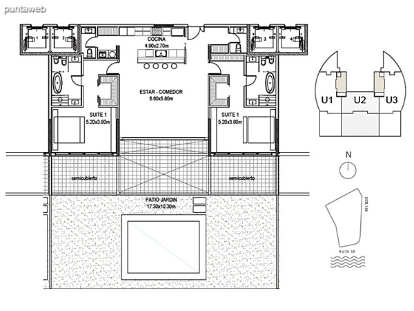 Planta Baja Unidad 2<br><br>Sup. Cubierta: 157.41 m²<br>Sup. Semicubierta: 31.45 m²<br>Sup. Exterior: 153.77 m²<br>Sup. Común: 8.58 m²<br>Sup. Amenities: 11.01 m²<br>Sup. Cochera + Baulera: 15.00 m²<br>Sup. Total: 377.22 m²