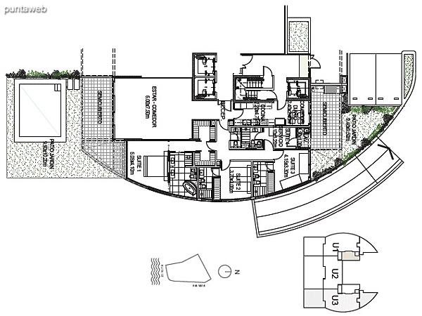 Planta Baja Unidad 3<br><br>Sup. Cubierta: 183.71 m²<br>Sup. Semicubierta: 40.03 m²<br>Sup. Exterior: 112.57 m²<br>Sup. Común: 8.58 m²<br>Sup. Amenities: 12.85 m²<br>Sup. Cochera + Baulera: 15.00 m²<br>Sup. Total: 372.74 m²