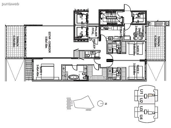 Planta Tipo Unidad 2<br><br>Sup. Cubierta: 157.45 m²<br>Sup. Semicubierta: 34.78 m²<br>Sup. Común: 8.58 m²<br>Sup. Amenities: 11.02 m²<br>Sup. Cochera + Baulera: 15.00 m²<br>Sup. Total: 226.83 m²