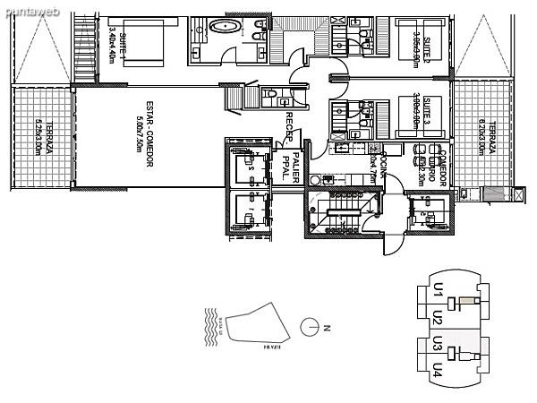 Planta Tipo Unidad 3<br><br>Sup. Cubierta: 157.45 m²<br>Sup. Semicubierta: 34.78 m²<br>Sup. Común: 8.58 m²<br>Sup. Amenities: 11.02 m²<br>Sup. Cochera + Baulera: 15.00 m²<br>Sup. Total: 226.83 m²