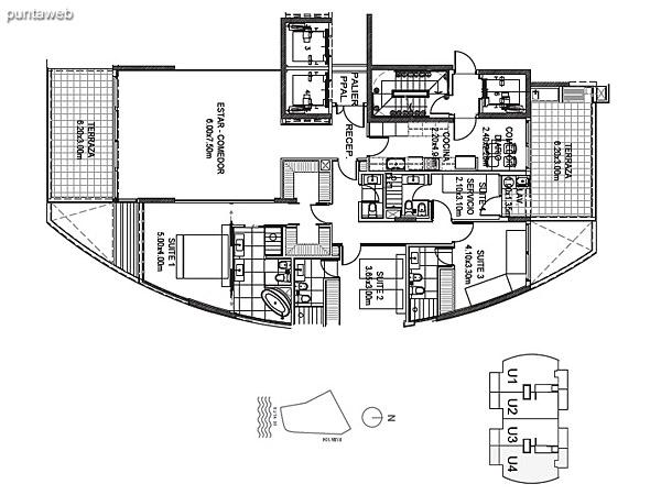 Planta Tipo Unidad 1<br><br>Sup. Cubierta: 187.05 m²<br>Sup. Semicubierta: 40.42 m²<br>Sup. Común: 8.58 m²<br>Sup. Amenities: 13.10 m²<br>Sup. Cochera + Baulera: 15.00 m²<br>Sup. Total: 264.15 m²