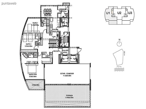 Penthouse Unidad 1 Planta Inferior<br><br>Sup. Cubierta: 211.80 m²<br>Sup. Terraza Semicubierta: 48.84 m²<br>Sup. Terraza Descubierta: 24.66 m²<br>Sup. Común: 8.58 m²<br>Sup. Amenities: 14.82 m²<br>Sup. Cochera + Baulera: 15.00 m²<br>Sup. Total Planta Inferior: 323.70 m²<br>Sup. Total Planta Superior: 94.62 m²<br>Sup. Total: 418.32 m²