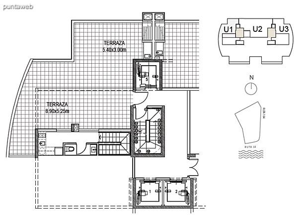 Penthouse Unidad 1 Planta Superior<br><br>Sup. Cubierta: 15.76 m²<br>Sup. Terraza: 70.54 m²<br>Sup. Común: 8.58 m²<br>Sup. Total: 94.62 m²