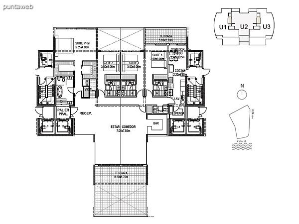 Penthouse Unidad 2 Planta Inferior<br><br>Sup. Cubierta: 239.04 m²<br>Sup. Terraza Semicubierta: 29.60 m²<br>Sup. Terraza Descubierta: 29.93 m²<br>Sup. Común: 8.58 m²<br>Sup. Amenities: 15.91 m²<br>Sup. Cochera + Baulera: 15.00 m²<br>Sup. Total Planta Inferior: 338.05 m²<br>Sup. Total Planta Superior: 172.51 m²<br>Sup. Total: 510.26 m²