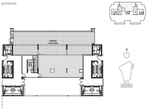 Penthouse Unidad 2 Planta Superior<br><br>Sup. Cubierta: 18.82 m²<br>Sup. Terraza Semicubierta: 49.42 m²<br>Sup. Terraza Descubierta: 95.70 m²<br>Sup. Terraza: 70.54 m²<br>Sup. Común: 8.58 m²<br>Sup. Total: 172.51 m²