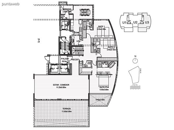 Penthouse Unidad 3 Planta Inferior<br><br>Sup. Cubierta: 211.80 m²<br>Sup. Terraza Semicubierta: 48.84 m²<br>Sup. Terraza Descubierta: 24.66 m²<br>Sup. Común: 8.58 m²<br>Sup. Amenities: 14.82 m²<br>Sup. Cochera + Baulera: 15.00 m²<br>Sup. Total Planta Inferior: 323.70 m²<br>Sup. Total Planta Superior: 94.62 m²<br>Sup. Total: 418.32 m²