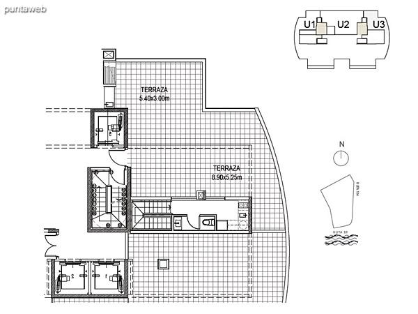 Penthouse Unidad 3 Planta Superior<br><br>Sup. Cubierta: 15.50 m²<br>Sup. Terraza: 70.54 m²<br>Sup. Común: 8.58 m²<br>Sup. Total: 94.62 m²