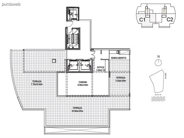 Cabaña 1<br><br>Sup. Cubierta: 50.59 m²<br>Sup. Semicubierta: 6.44 m²<br>Sup. Terraza: 170.07 m²<br>Sup. Común: 18.78 m²<br>Sup. Total Planta Superior: 245.64 m²