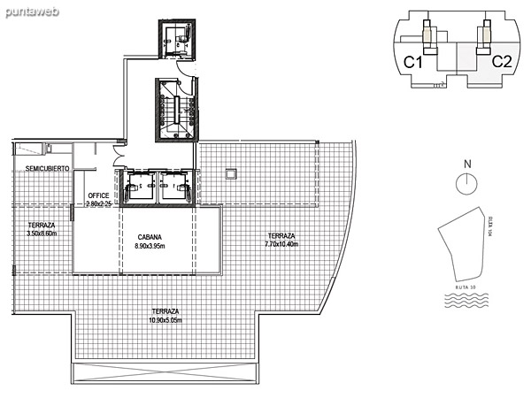 Cabaña 2<br><br>Sup. Cubierta: 50.59 m²<br>Sup. Semicubierta: 6.44 m²<br>Sup. Terraza: 170.07 m²<br>Sup. Común: 18.78 m²<br>Sup. Total Planta Superior: 245.64 m²